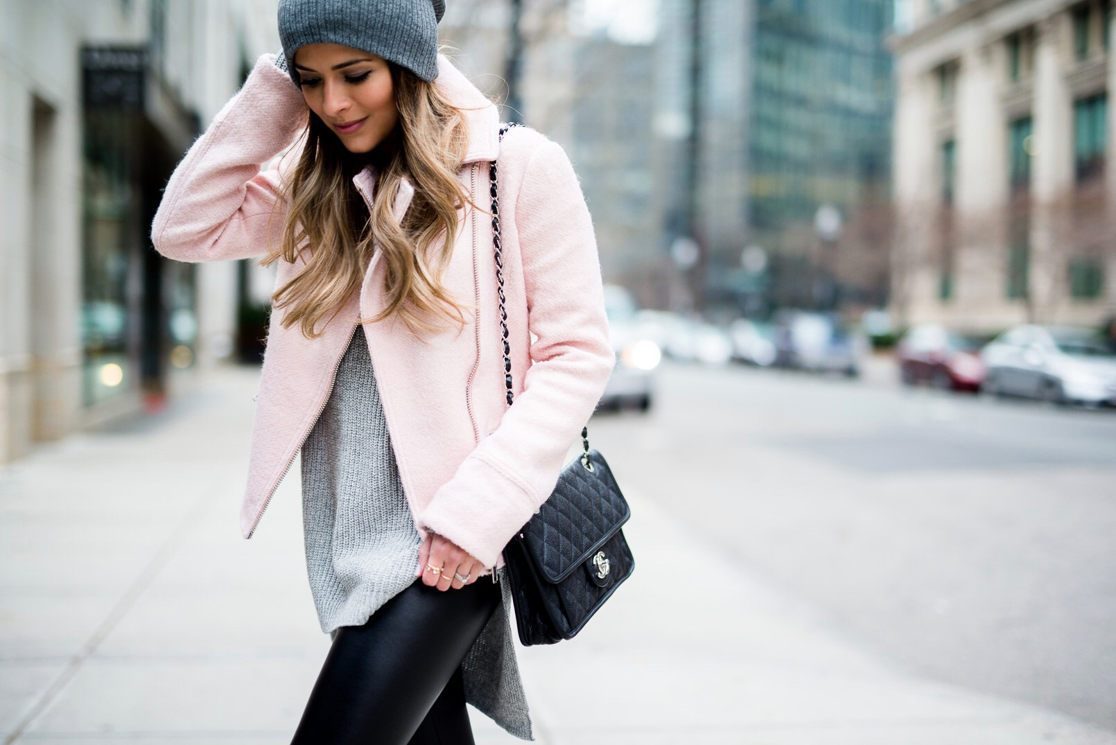 Asos-Pink-Jacket-Faux-Leather-Leggings-Reiss-Boots-BP-Grey-Beanie-Chanel-French-Riviera-Flap-Grey-Sweater-Boston-7
