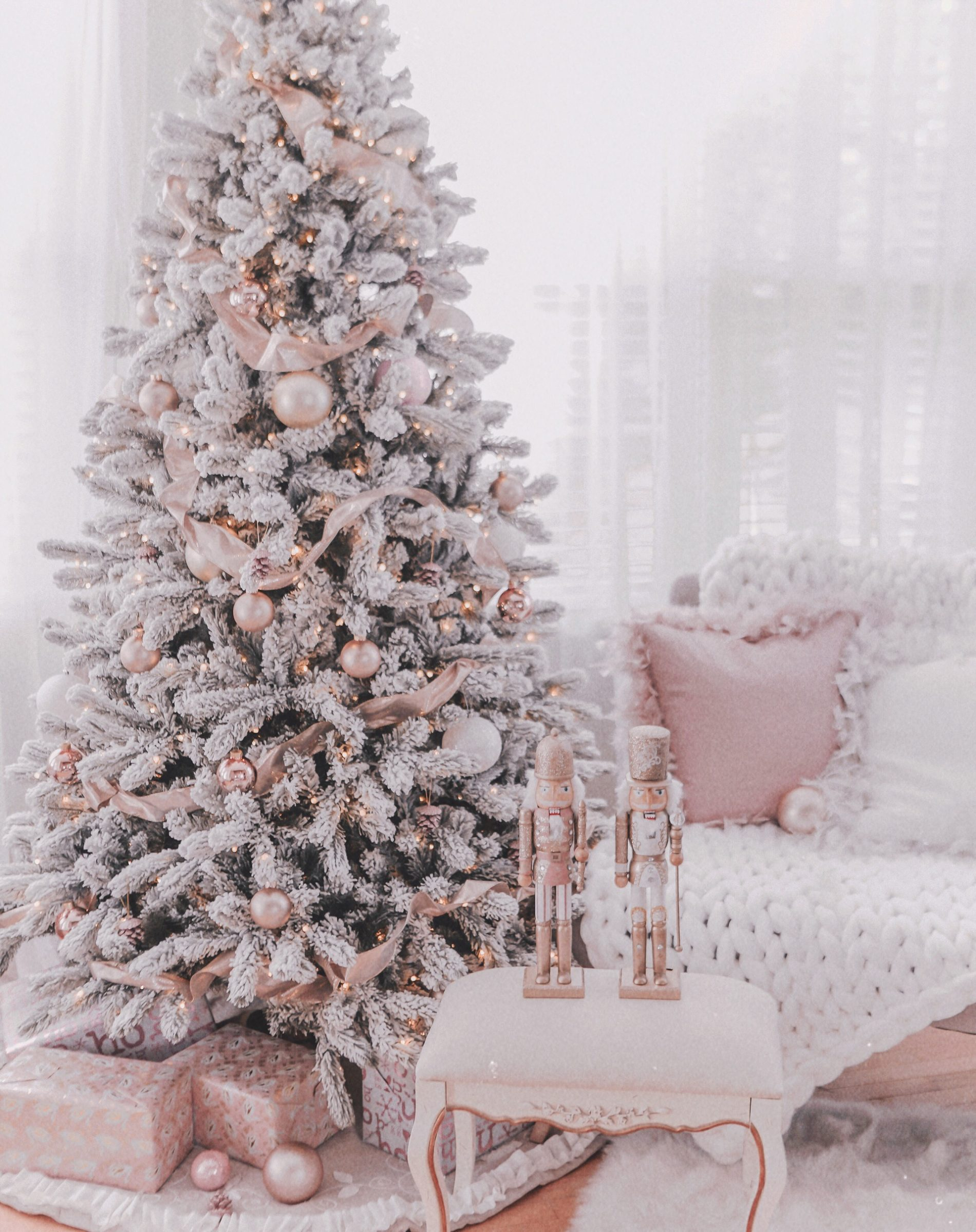 Couture Rose Gold Blush Christmas Tree Decoration Details J