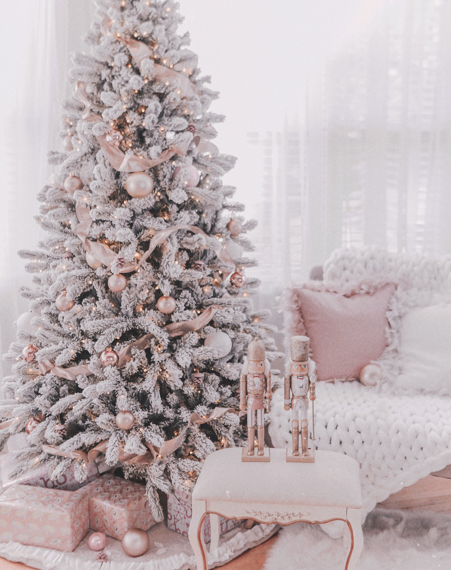 Couture Rose Gold & Blush Christmas Tree Decoration Details Hi Coutures! Here's my holiday shopping details post - as promised! Now I literally just setup the tree a few days ago and we're still making changes and have much more holiday couture decor to add, set up & of course, share with you! But for now here are the details for what I have up so far and for what I've already shared. The Tree Our tree is by King of Christmas and it is the 7.5 foot King flocked pre-lit Christmas tree. It's so fluffy and beautiful and I can promise you that it is worth every cent. I can't even tell you how many comments we've gotten in person already as to how gorgeous it is and it's definitely converting faux-tree haters! We ordered ours in October after hearing that they sell out for good right about now. So loves, if you want it THIS year, you must order now! Rose Gold Ornaments A lot of questions I've received thus far have been where are the ornaments from? Well loves they were super cheap, I'm talking $5 a pack cheap and I think will sell out rather quickly. We went with a mix of rose gold frosted, rose gold glitter and than jumbo rose gold and gold ornaments which I've linked all in this post. You can buy online & have them shipped or pick them up in the store. I've also added these darling little Eiffel Tower glitter ornaments to the tree and my goodness are they lovely! Ribbon My desire for the tree this year was to have a rose gold & blush look as much as possible and to achieve that we looked to ribbon. I've linked some of the different ribbons that we added to the tree In this post. However, I didn't see one style that we used a lot of on the Michaels.com website. It's rose gold and very shimmery. The Nutcrackers These babies are from Michaels as well and wow did they sell out FAST! I just saw them in stock online, a few days ago but now they're gone. I also picked up the last 2 from my local store last weekend. There is a chance they will be restocked and available at yo